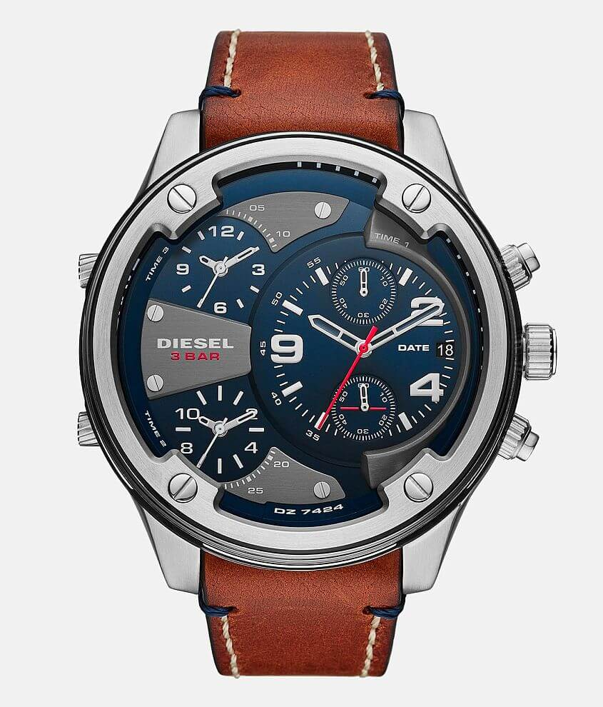 Diesel Boltdown Leather Watch front view
