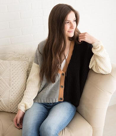 Willow & Root Color Block Cardigan Sweater