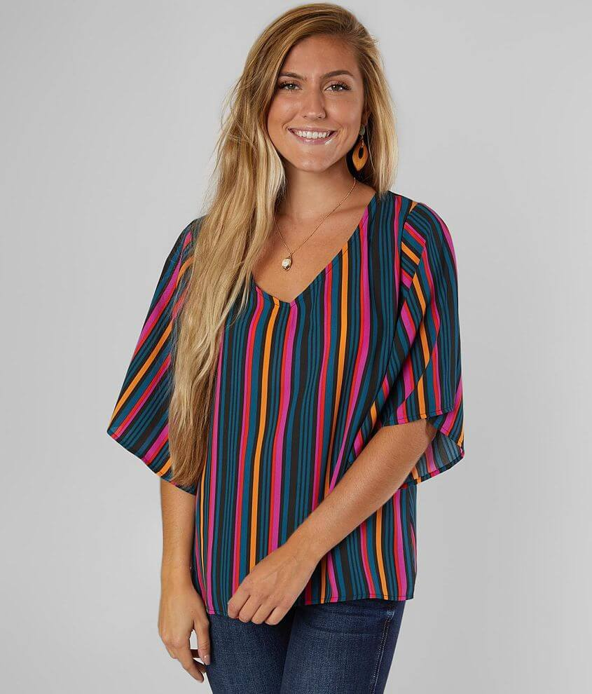 Willow & Root Striped Chiffon Top front view