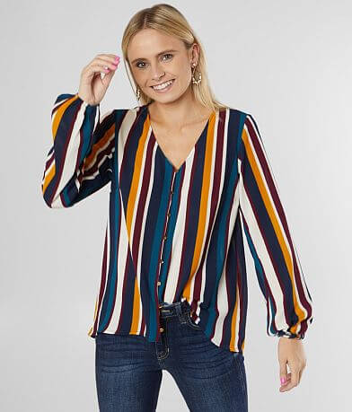 Willow & Root Striped Button Down Gauze Top