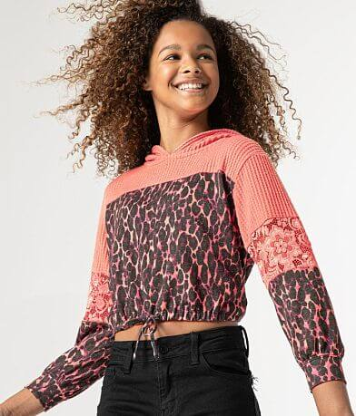 Girls - Daytrip Waffle Knit Leopard Lace Hoodie
