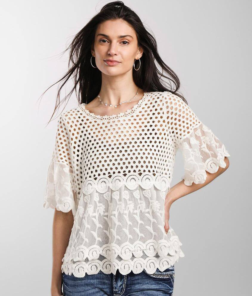 Daytrip Pieced Crochet Mesh Top front view