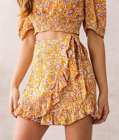 Willow & Root Ruffled Floral Skort