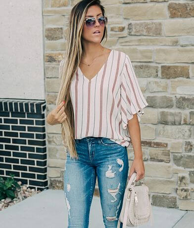 willow & root Striped V-Neck Top