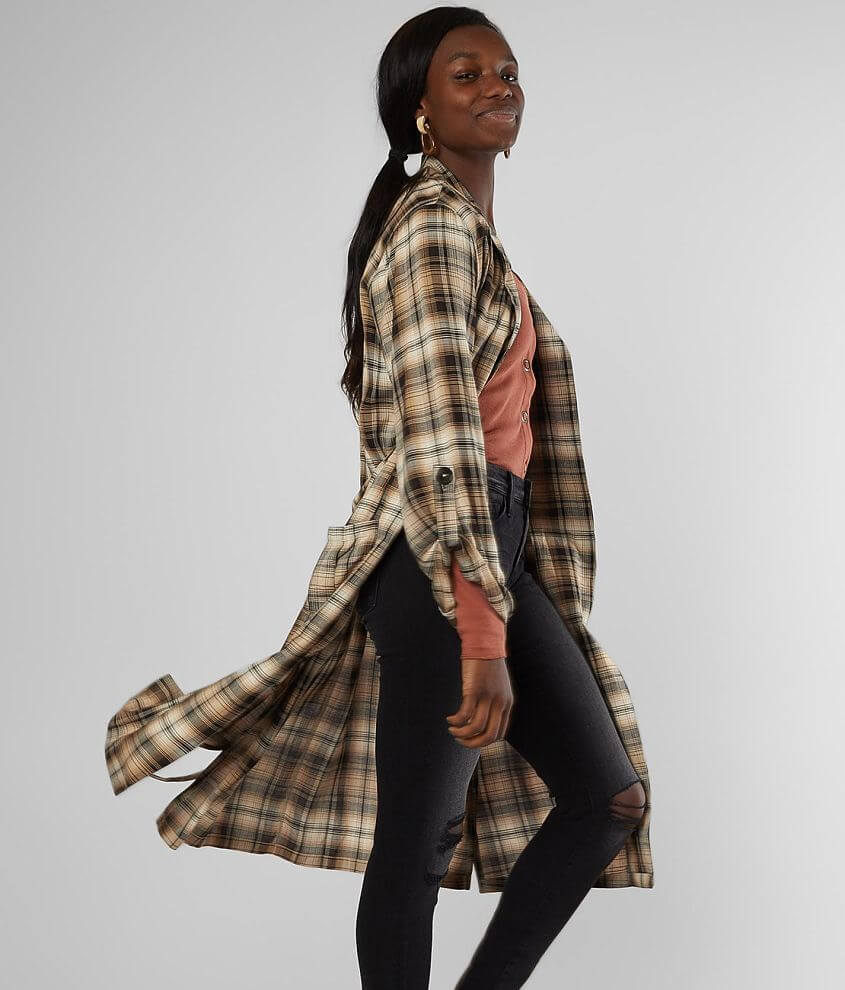 Gilded Intent Plaid Duster Cardigan front view