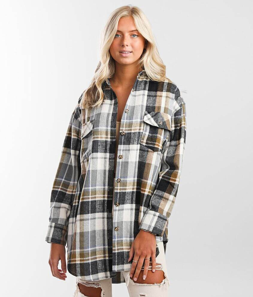 BKE Flannel Tunic Shirt front view