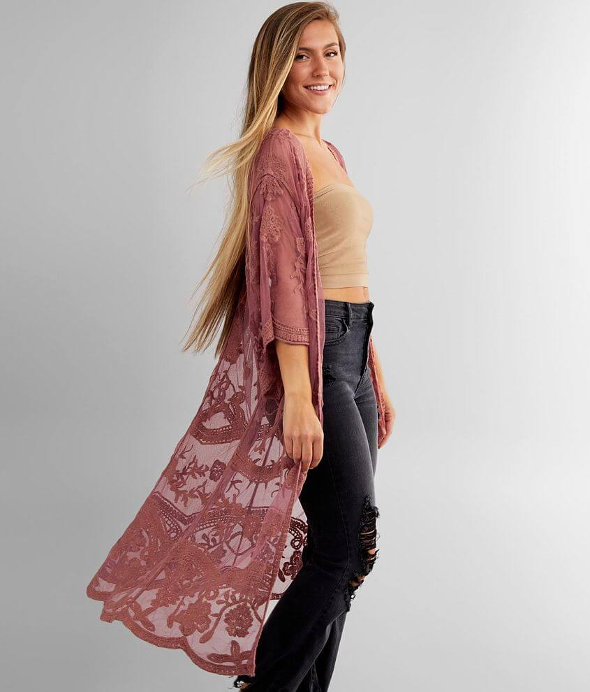 Daytrip Floral Embroidered Mesh Kimono front view