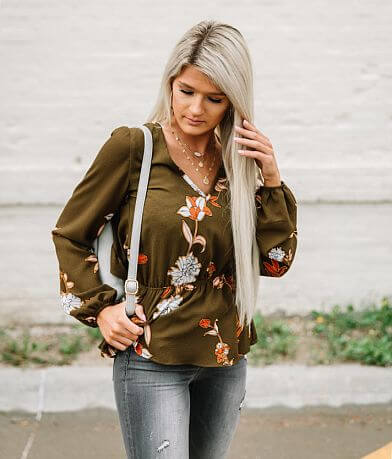 Willow & Root Floral Peplum Top