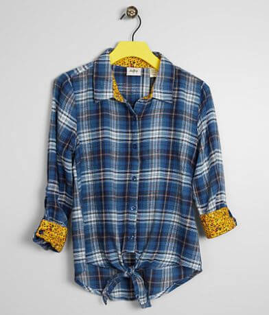 Girls - Daytrip Plaid Front Tie Shirt