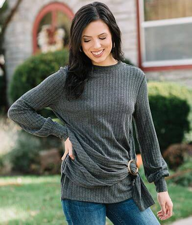 Doe & Rae Wide Ribbed Knit Top