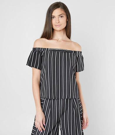 Doe & Rae Striped Off The Shoulder Cropped Top