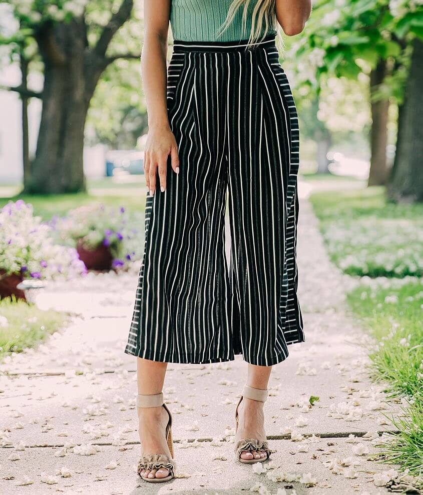 Doe & Rae Striped Wide Leg Cropped Pant front view