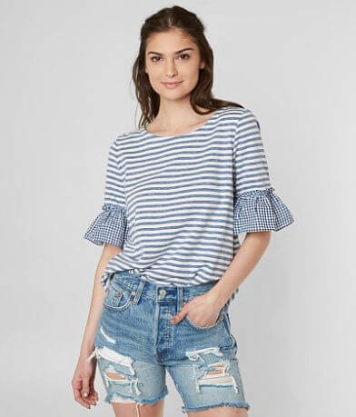 Doe & Rae Gingham Lace-Up Top