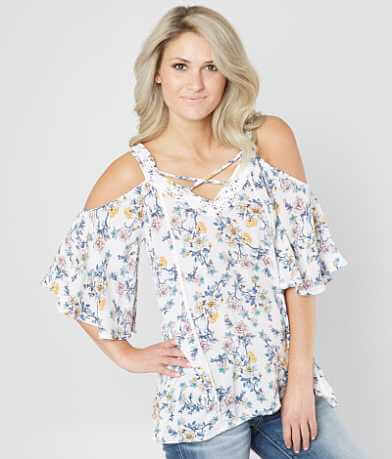 Doe & Rae Floral Cold Shoulder Top