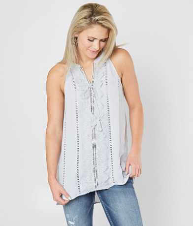 Doe & Rae Woven High Low Tank Top