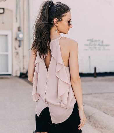 Doe & Rae High Neck Chiffon Tank Top