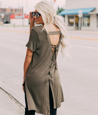 Doe & Rae Lace-Up Back Top
