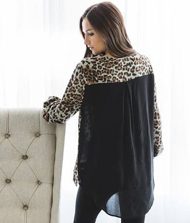 Doe & Rae Pieced Leopard Print Top