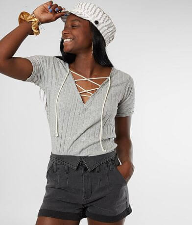 Gilded Intent Lace-Up Knit Top