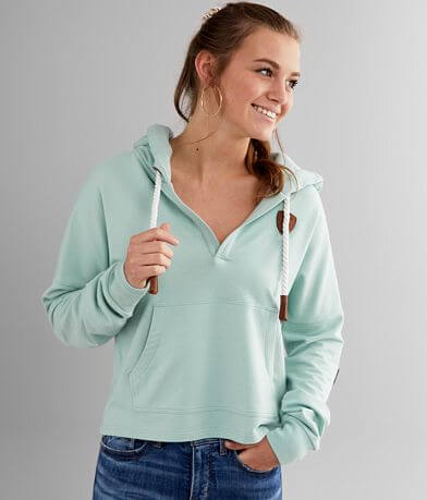 Wanakome Etta Split Neck Hooded Sweatshirt