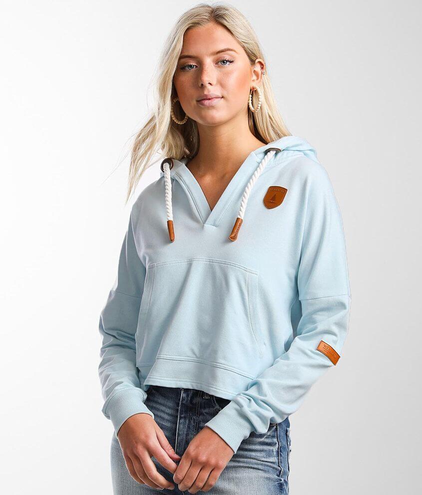 Wanakome Etta Split Neck Hooded Sweatshirt front view