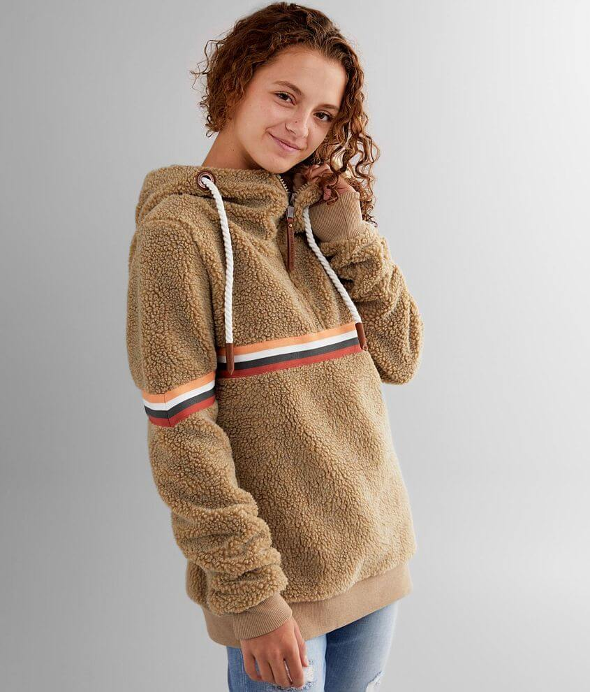 Wanakome Eva Sherpa Hooded Quarter Zip Pullover front view