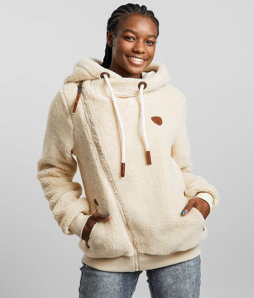 Wanakome Sherpa Asymmetrical Hooded Sweatshirt front view