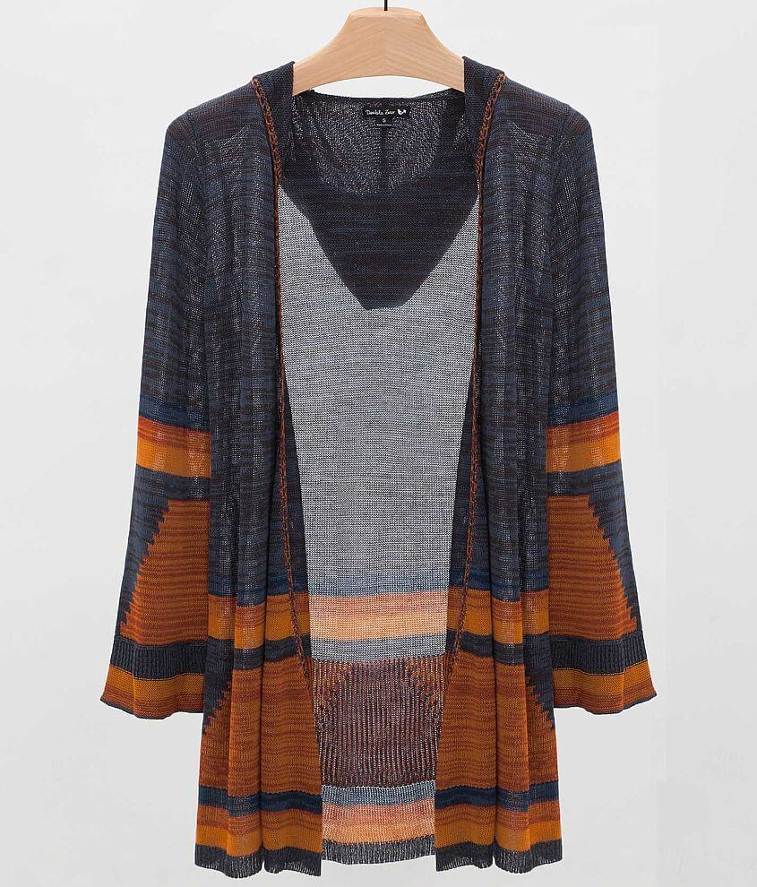 Double Zero Hooded Cardigan Sweater front view