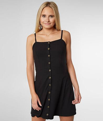 Double Zero Button Front A-Line Dress