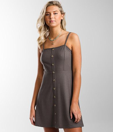 Double Zero Faux Button Front A-Line Dress