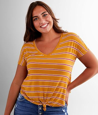 Double Zero Striped V-Neck T-Shirt