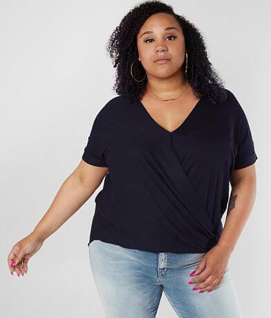 Double Zero Surplice High Low Hem Top