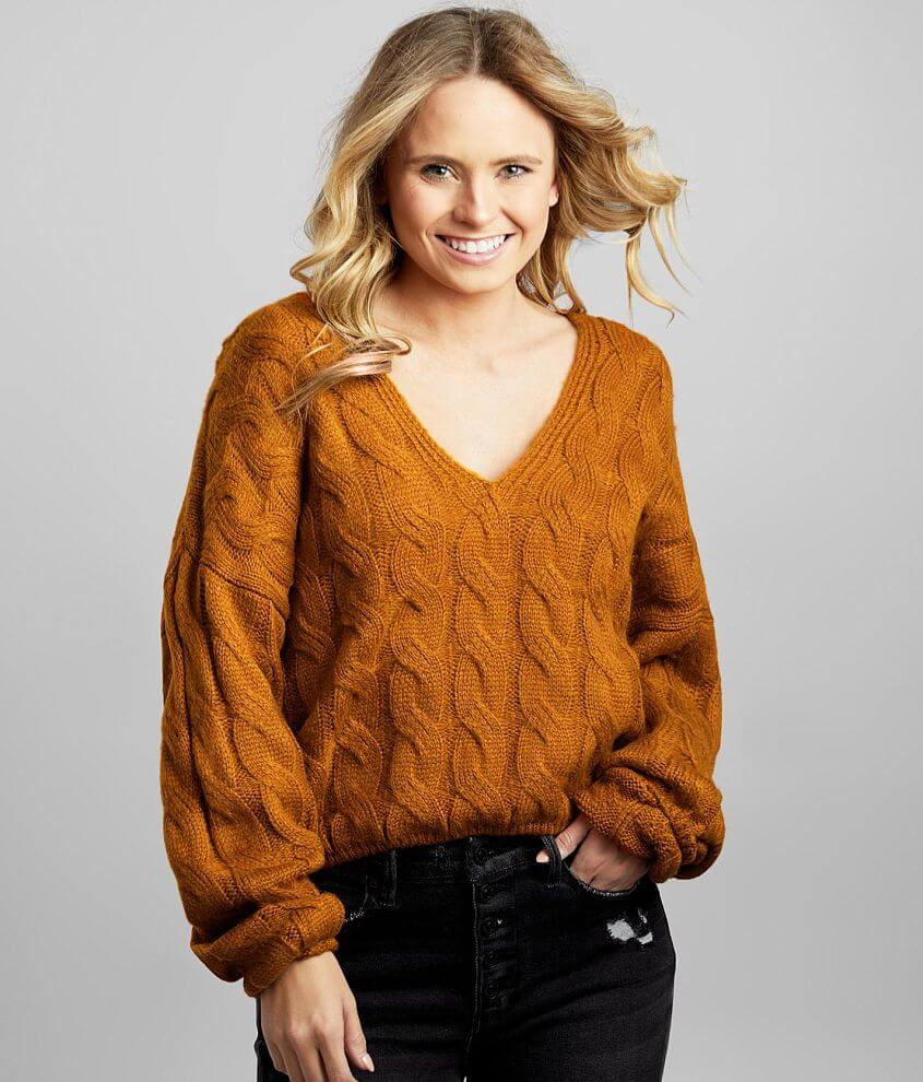Double Zero Slouchy Cable Knit Sweater front view