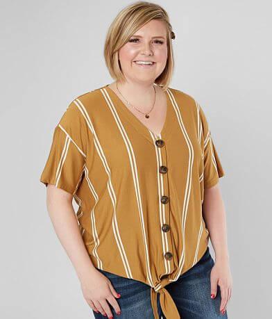 Hyfve Striped Knit Top - Plus Size Only