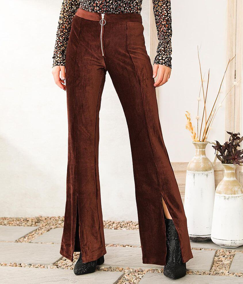 Willow & Root Ribbed Knit Split Flare Pant front view