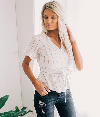 FAVLUX  Striped Surplice Top