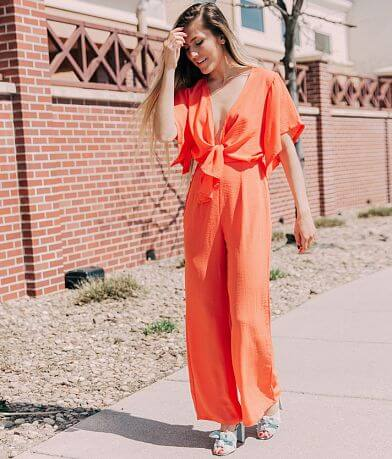 FAVLUX Deep V-Neck Wide Leg Jumpsuit