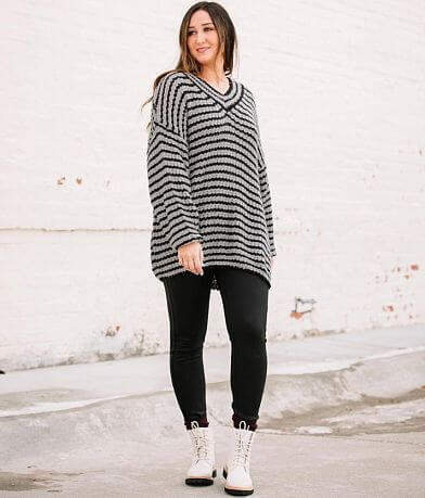 FAVLUX Striped Chunky Tunic Sweater
