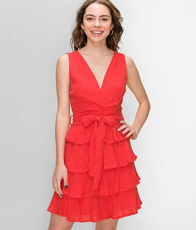 FAVLUX Textured Ruffle Dress
