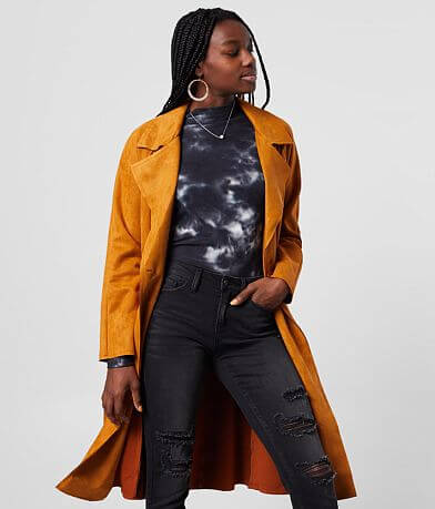 FAVLUX Faux Suede Trench Jacket