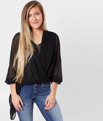 FAVLUX Sheer Surplice Top