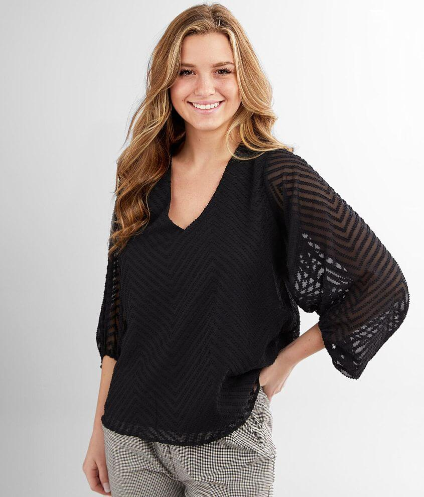 FAVLUX Textured Chiffon Top front view