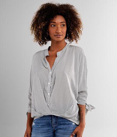 FAVLUX Striped Split Neck Dolman Shirt