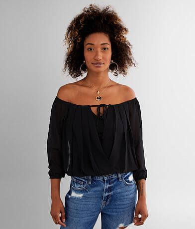 FAVLUX Off The Shoulder Pleated Chiffon Top