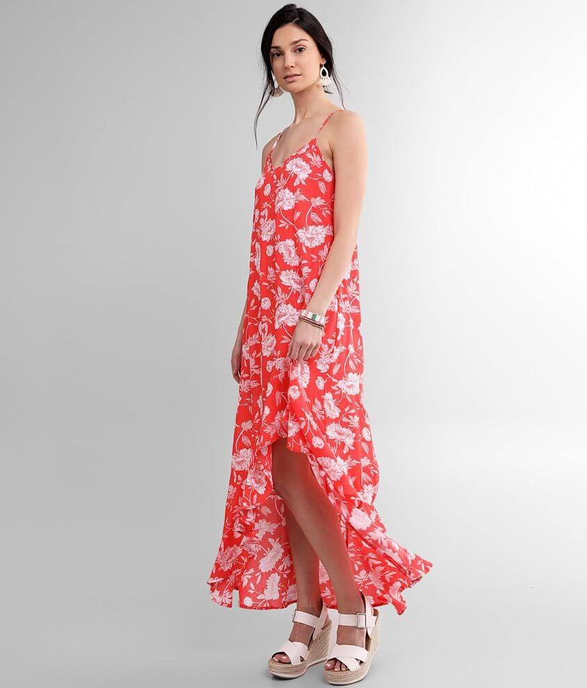 FAVLUX Floral Crinkle Maxi Dress front view