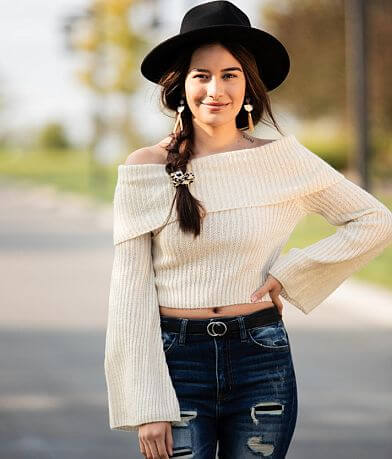 Hyfve Off The Shoulder Cropped Sweater