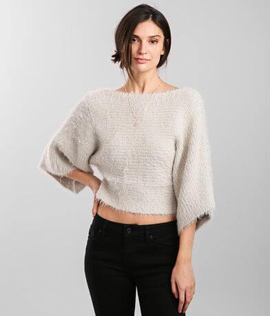 Hyfve Metallic Eyelash Cropped Sweater