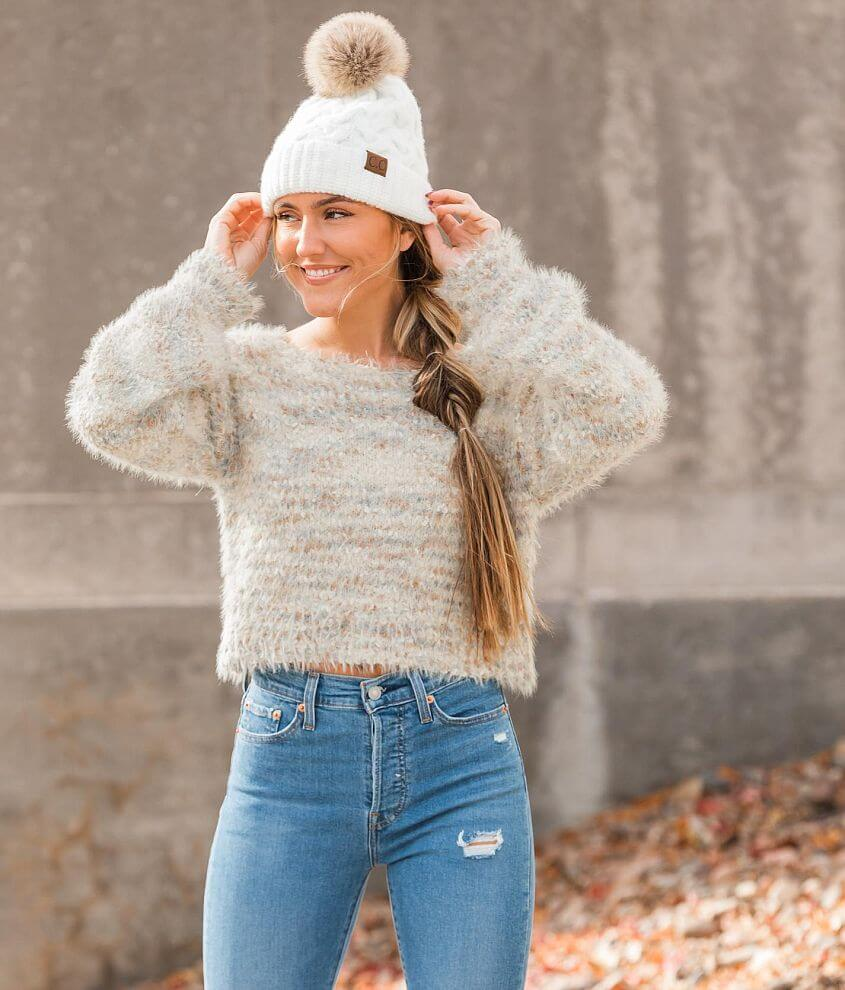 Hyfve Marled Eyelash Knit Cropped Sweater front view