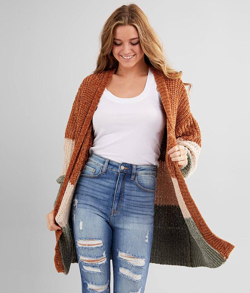 Hyfve Color Block Chenille Cardigan Sweater front view