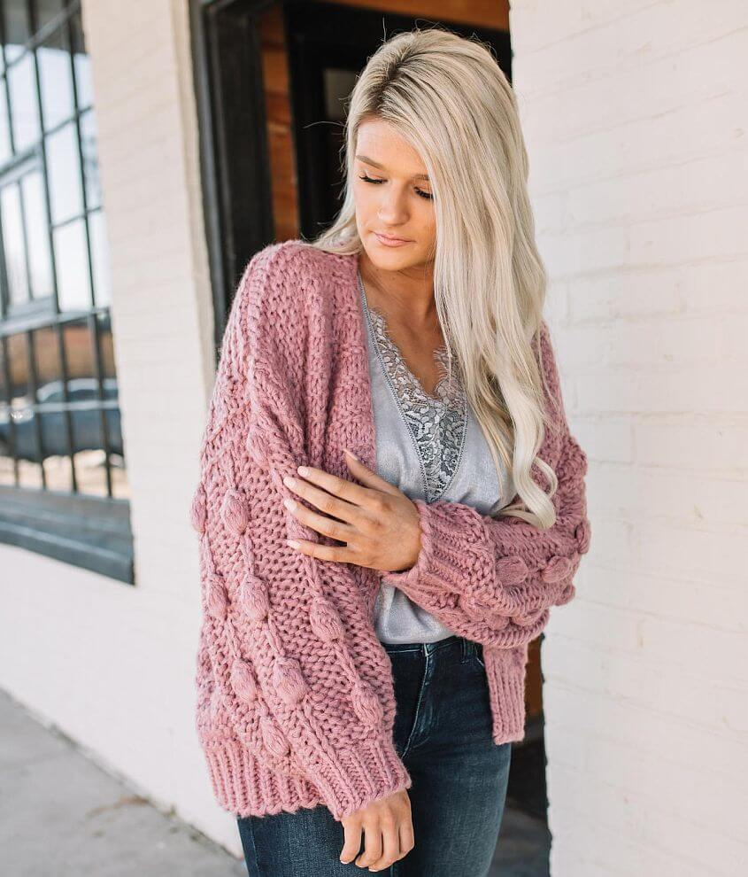 Hyfve Bobble Sleeve Cardigan Sweater front view